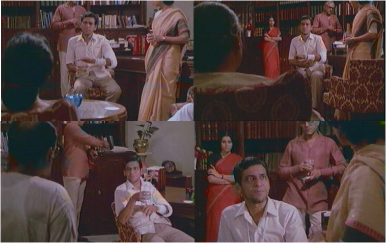 In this crucial scene in the film, Avinash is confronted with questions from all diagonals