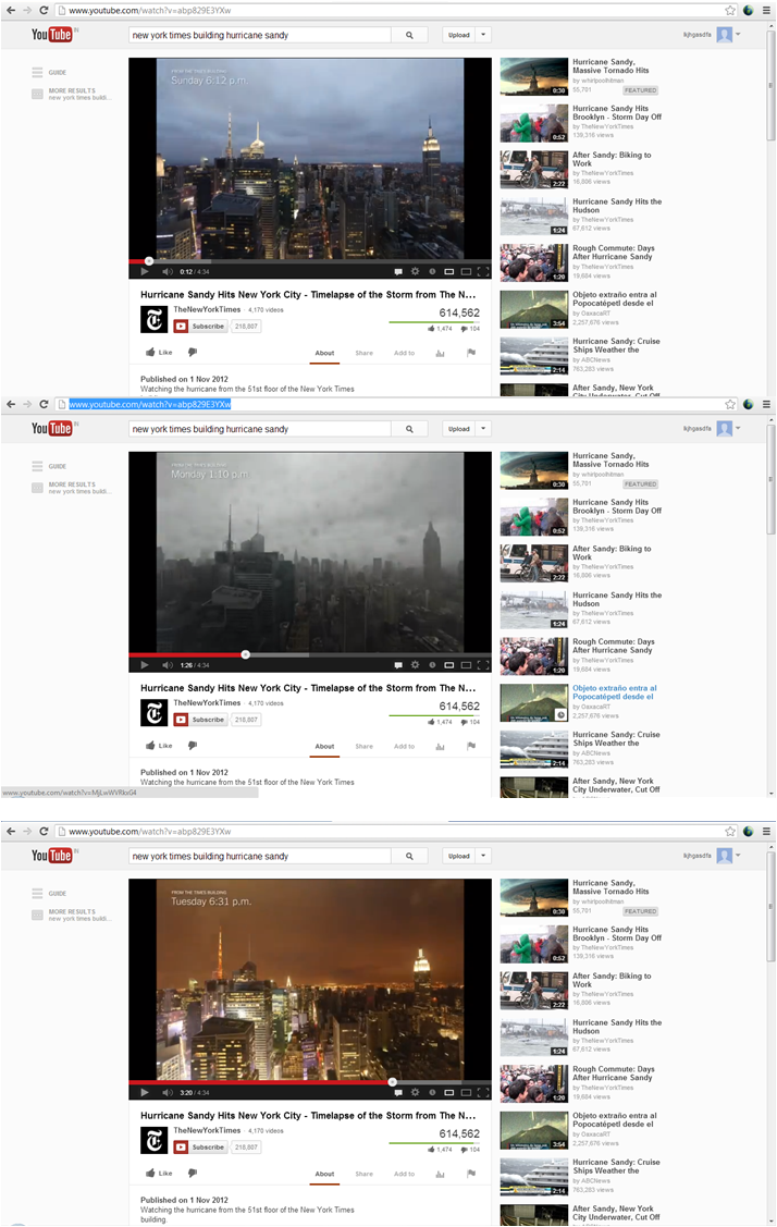 Print-screens of the Youtube video as it plays