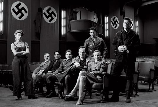 The cast of Inglourious Basterds (2009) with director Quentin Tarantino in the middle